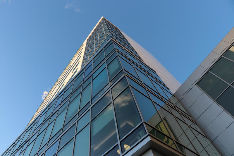 Looking up to the 12 floors of the Oishei Children's Hospital.