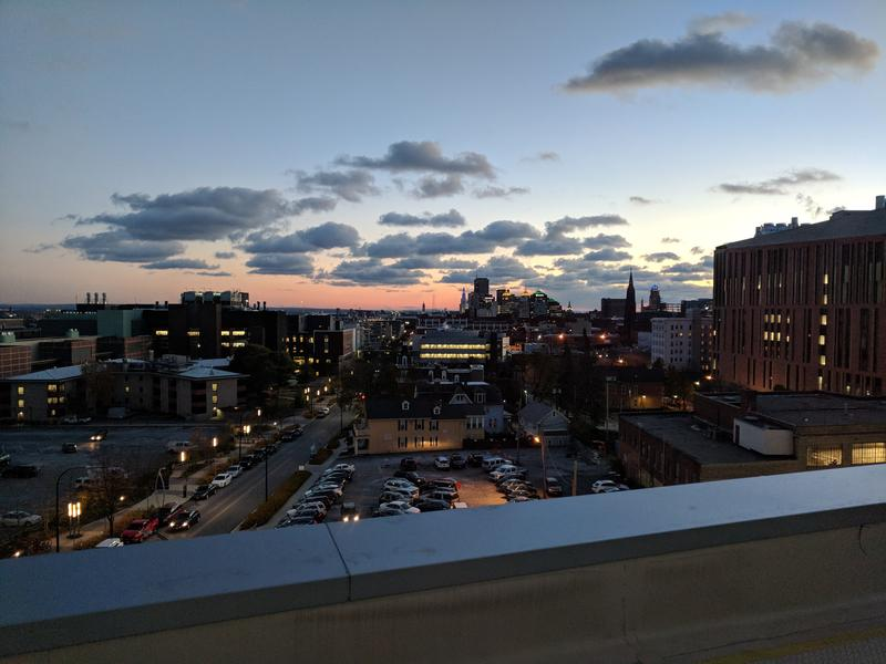 The view of dusk across the city from the 5th floor of the Oishei Children's Hospital.