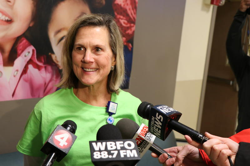Mary Ellen Creighton, director of nursing services, is interviewed by media on the final night at Women & Children's.