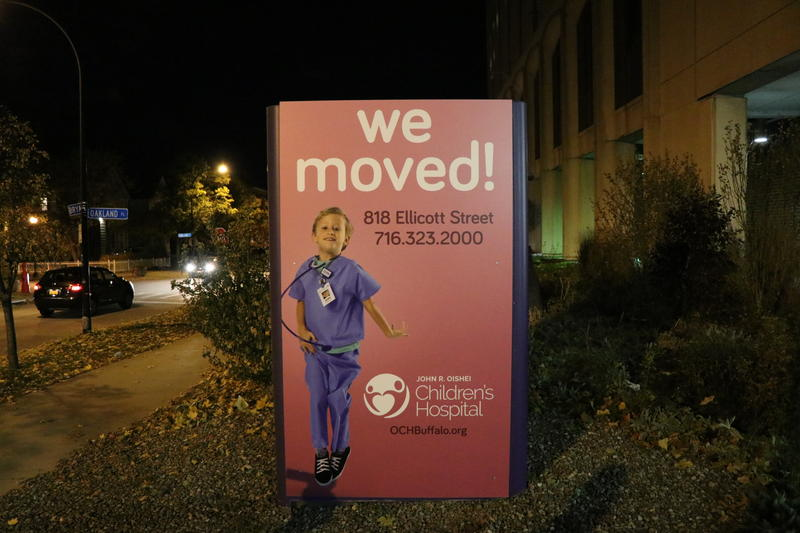 The sign outside Women & Children's Hospital now announces to the public that the hospital has moved to 818 Ellicott Street.