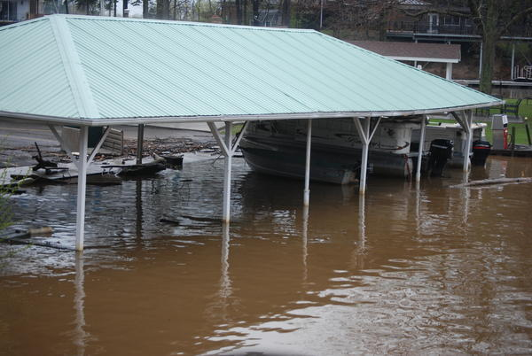 Flooded boat shelter at the Wilson Yacht Club.