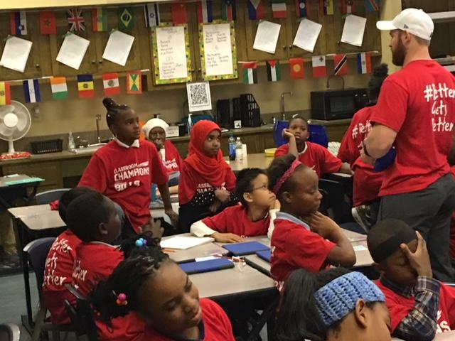 Buffalo Bills punter Colton Schmidt is mentoring students at the Harriet Ross Tubman School in Buffalo with the Classroom Champions.