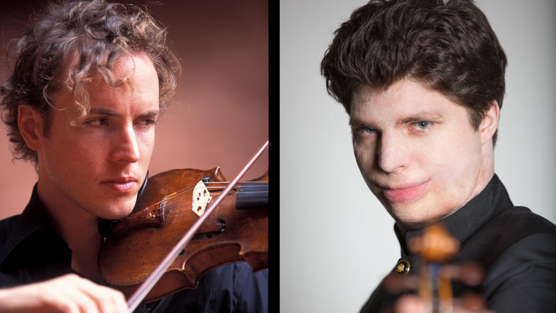 Internationally reknowned violinists Tim Fain (left) and Augustin Hadelich.