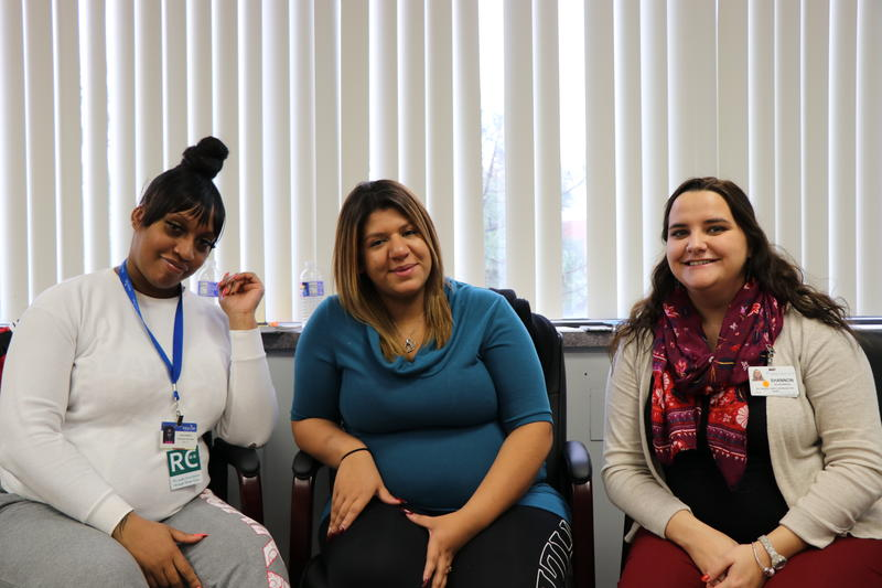 (from left) Karen Mathis, Melanie Del Valle, and Shannon Schwarberg are all mothers-to-be in the CenteringPregnancy program.