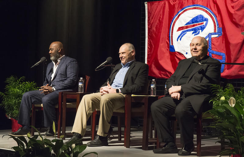 Thurman Thomas, Buffalo News Sportswriter Vic Carucci and WNED|WBFO  Chief Program Officer John Grant share stories in the post-screening discussion