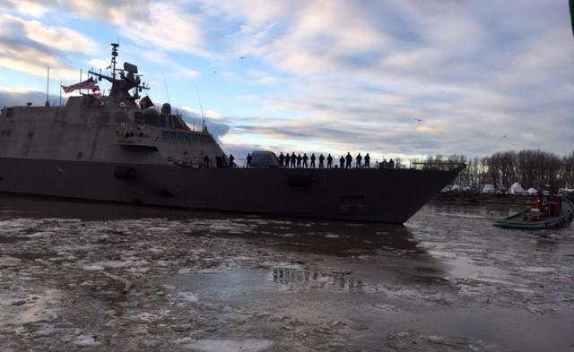 LCS-9 left the icy waters of Buffalo for a warmer new home base in Mayport, FL.
