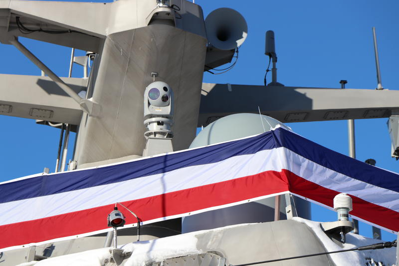 This camera next to the new USS Little Rock's mast is the eye in the sky for its main gun, used to scan for threats on the water.