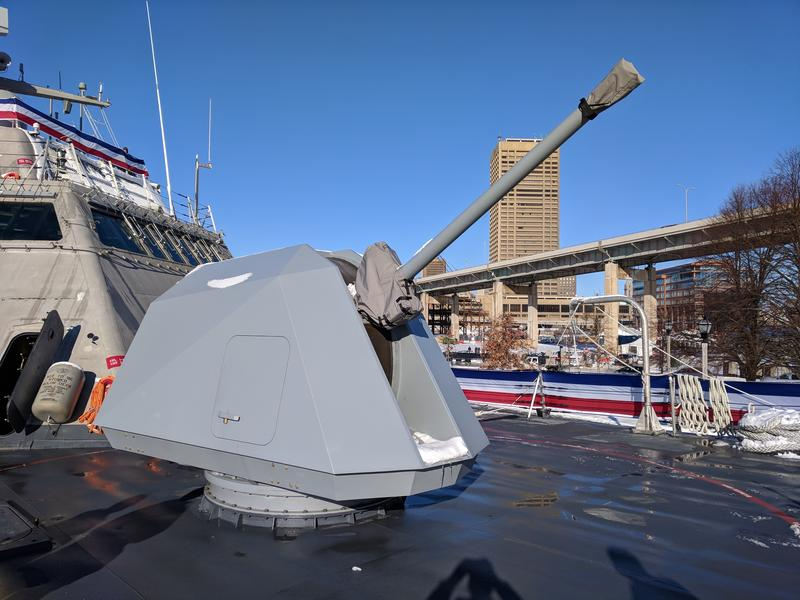 The 57mm main gun on the deck of the new USS Little Rock.