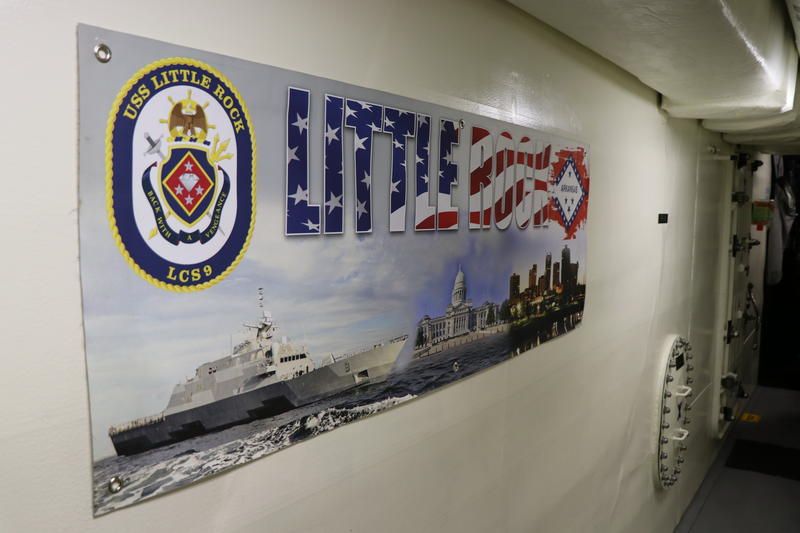A banner hangs in one of the hallways inside the new USS Little Rock.