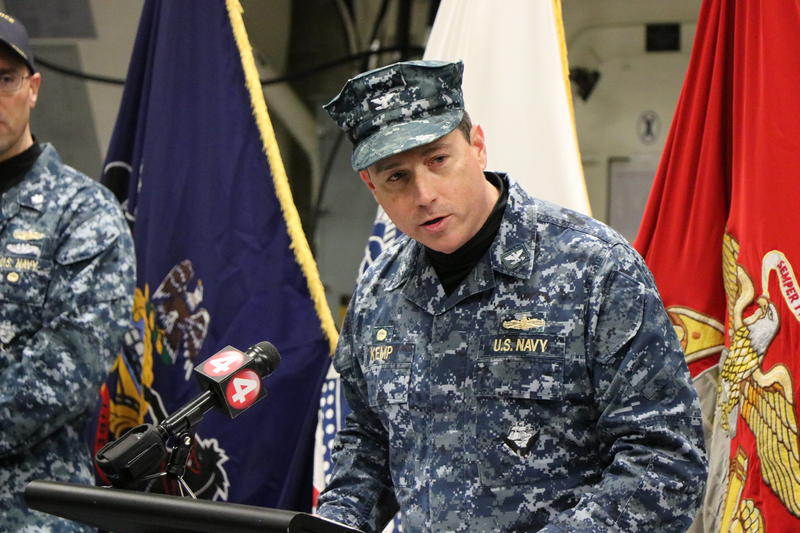 Captain David Kemp, Commander of U.S. Military Entrance Processing Command addressed a group of 18 Western New Yorkers as they enlisted in the armed forces.