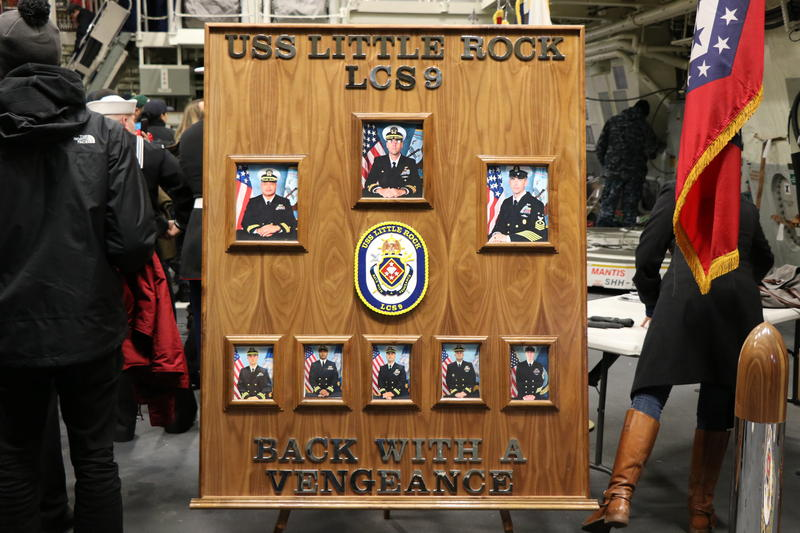 """Photos of the command team of the new USS Little Rock, whose motto is """"Back with a Vengance."""""""