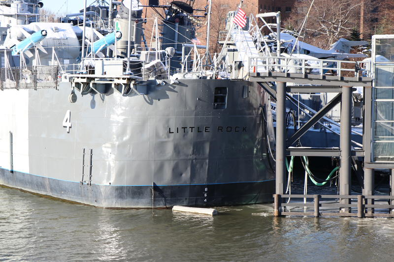 From the aft deck of the new USS Little Rock, its namesake vessel - the original USS Little Rock - can be seen at the Buffalo and Erie County Military and Naval Park.