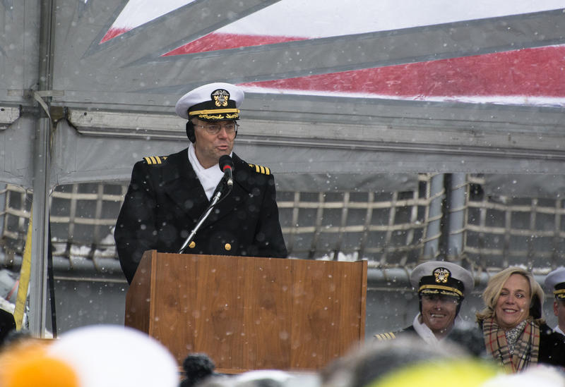 Commander Todd Peters, first Commanding Officer of the new USS Little Rock, addresses the crowd.
