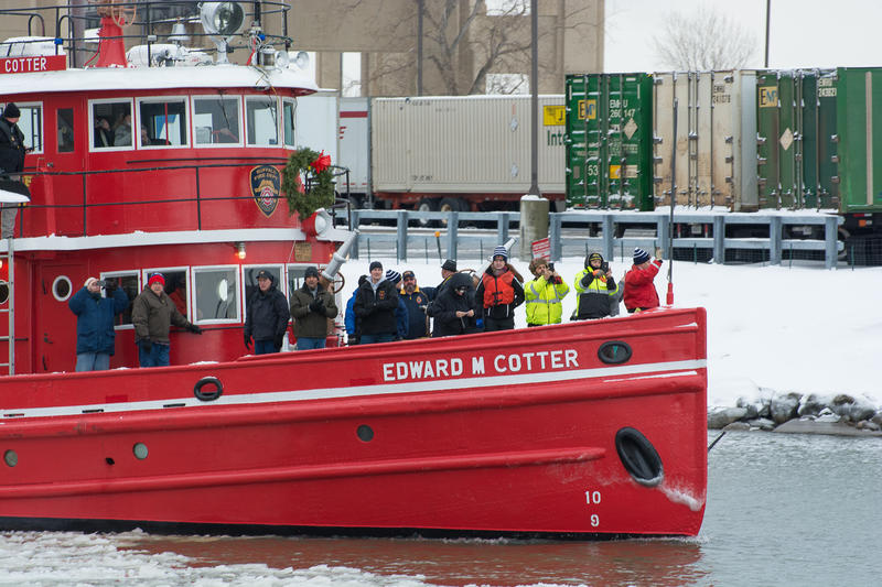 The historic fireboat Edward M. Cotter sailed by to salute the new USS Little Rock. The Cotter was a unique part of the festivities that welcomed the Little Rock to Buffalo.