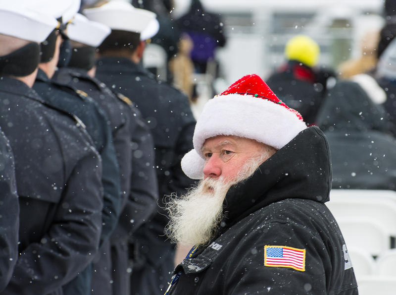 A Santa Claus look-a-like was among the 8,500 guests at the commissioning of the new USS Little Rock.