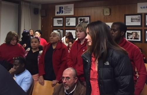 Teachers stand in protest to School 18 principal.