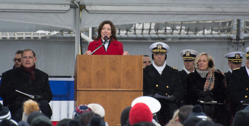 New York Lieutenant Governor Kathy Hochul delivered one of the first addresses to the audience at the commissioning of the new USS Little Rock.