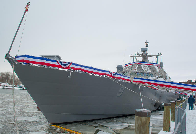 The newly commissioned USS Little Rock, docked at Buffalo's Canalside.