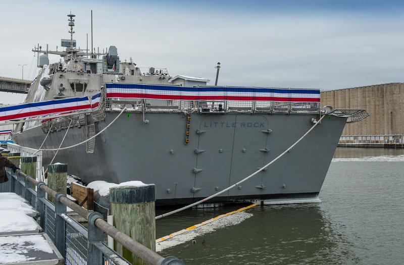 The stern of the new USS Little Rock.