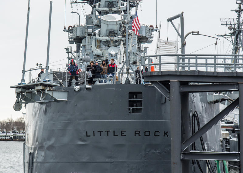 The stern of the old USS Little Rock.