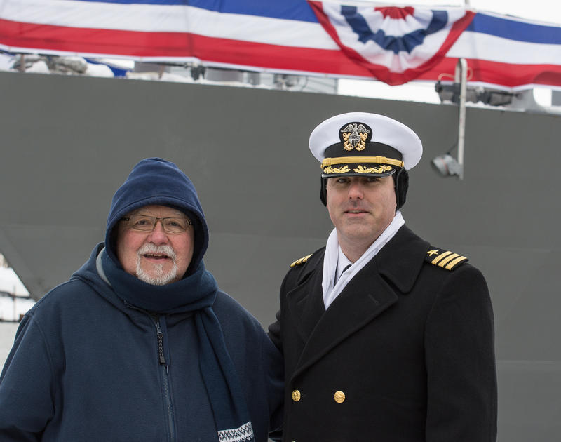 U.S. Navy Commander Patrick Callan of Fredonia, NY and his long-time family priest Reverend Jim O'Connor.