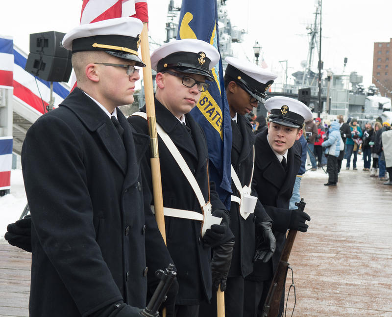 A color guard awaits the beginning of the commissioning ceremony for the new USS Little Rock.