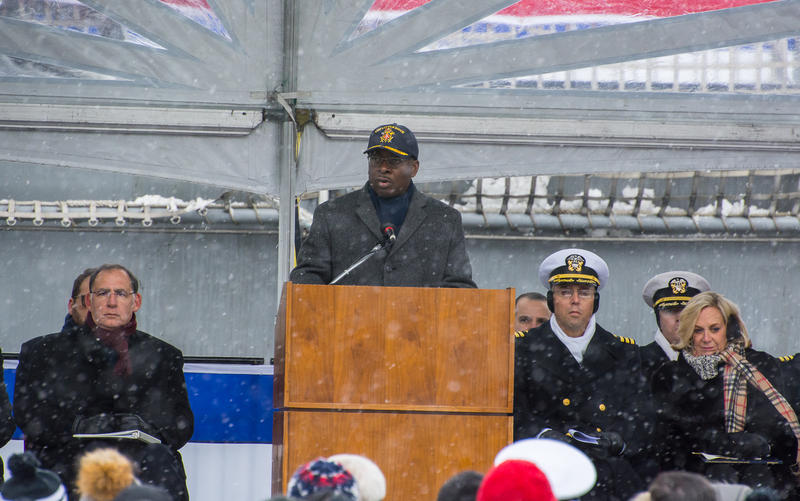 City of Buffalo Mayor Byron Brown welcomes the crew of the new USS Little Rock and thanks them for their service.