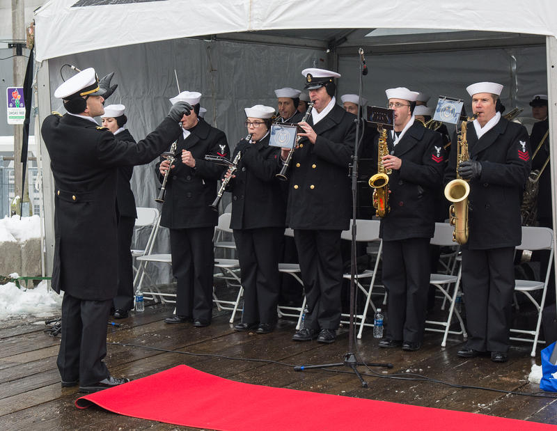Members of the Navy Band Northeast provide the ceremonial music for the commissioning of the new USS Little Rock.