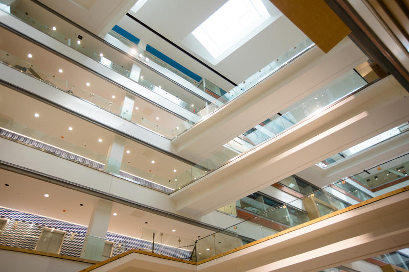 The interior of the new home of the Jacobs School of Medicine and Biomedical Sciences at the University at Buffalo.