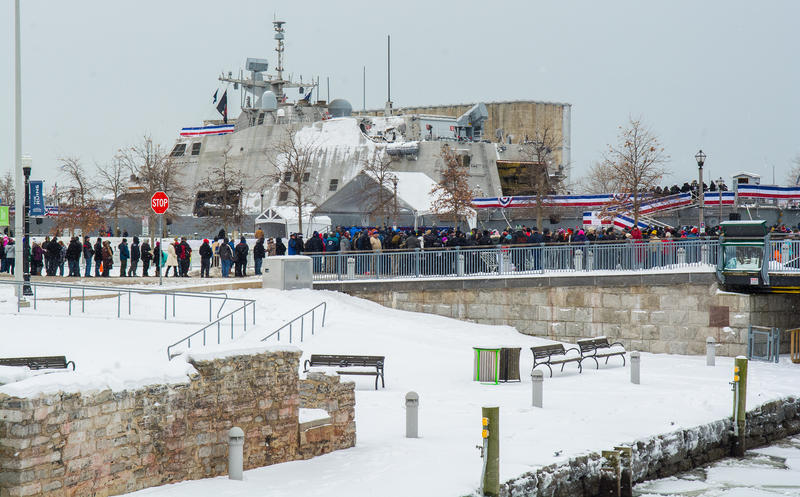 Hundreds of guests await a chance to tour the new USS Little Rock, following the ship's commissioning ceremony.