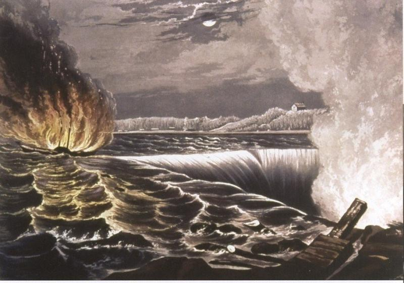 The burning of the steamboat Caroline in 1837, foiling a planned invasion of Canada by rebels and rebel sympathizers -- many of them Buffalonians - during the Upper Canada Rebellion.