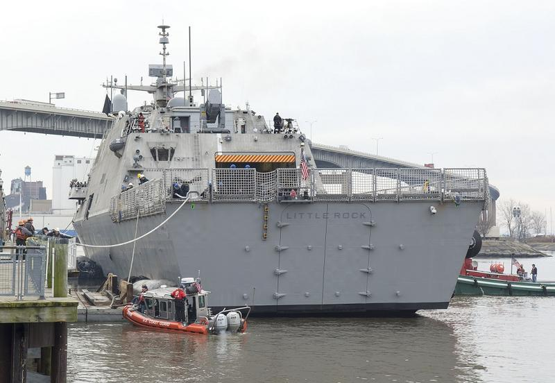 The new USS Little Rock docks at Canalside in Buffalo, arriving nearly two weeks before its commissioning ceremony.