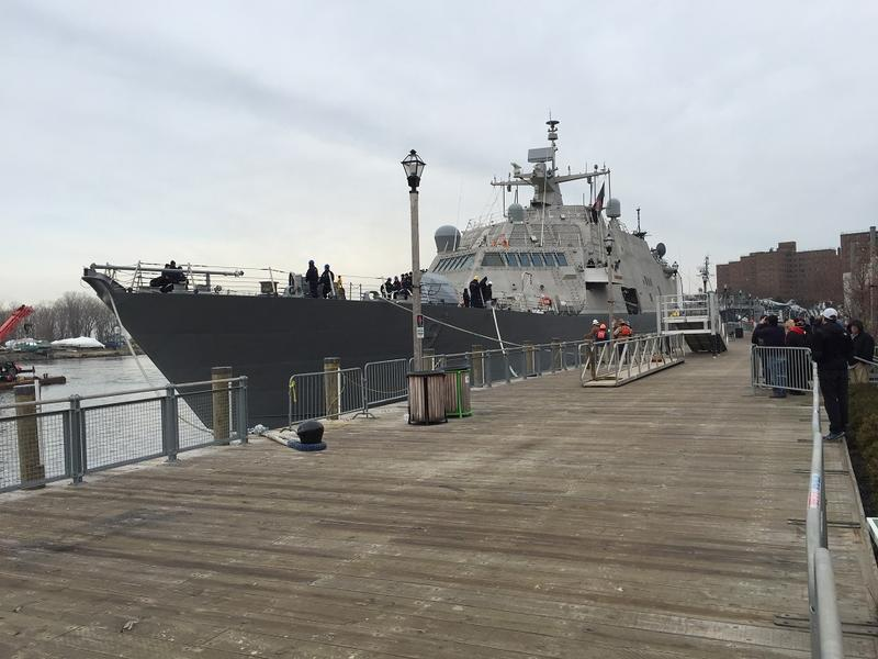 A view of the USS Little Rock LCS-9 from the boardwalk at Canalside. The public will have the opportunity to view the vessel up close but will be required to undergo security screening similar to that inside airports.