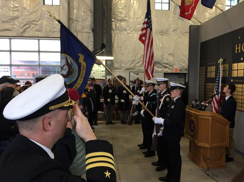 Representatives of the Western New York Maritime Charter School display the colors as the national anthem is sung, beginning the annual Pearl Harbor Remembrance ceremony at the Buffalo and Erie County Naval and Military Park.