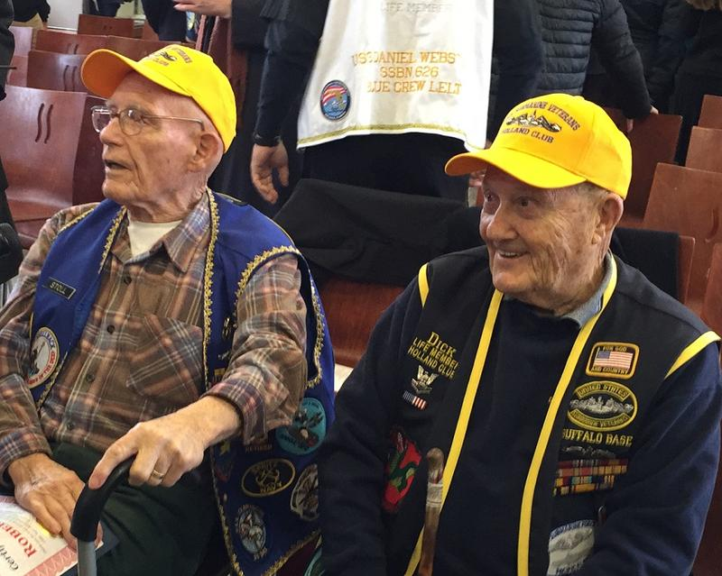 Although the annual Pearl Harbor Remembrance ceremony at the Buffalo and Erie County Naval and Military Park is a solemn occasion, this year's event included honors for two World War II submarine veterans, Robert Stoll (left) and Dick Bondi.