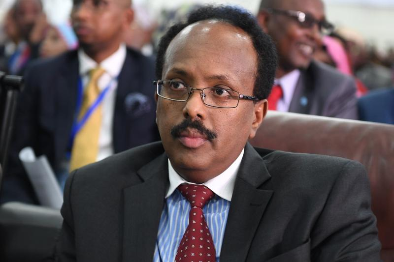 Mohamed Abdullahi Farmaajo watches as ballots are counted at Mogadishu Airport on Feb. 8, 2017. He won, and left his job at the state DOT in Buffalo to become president of Somalia.
