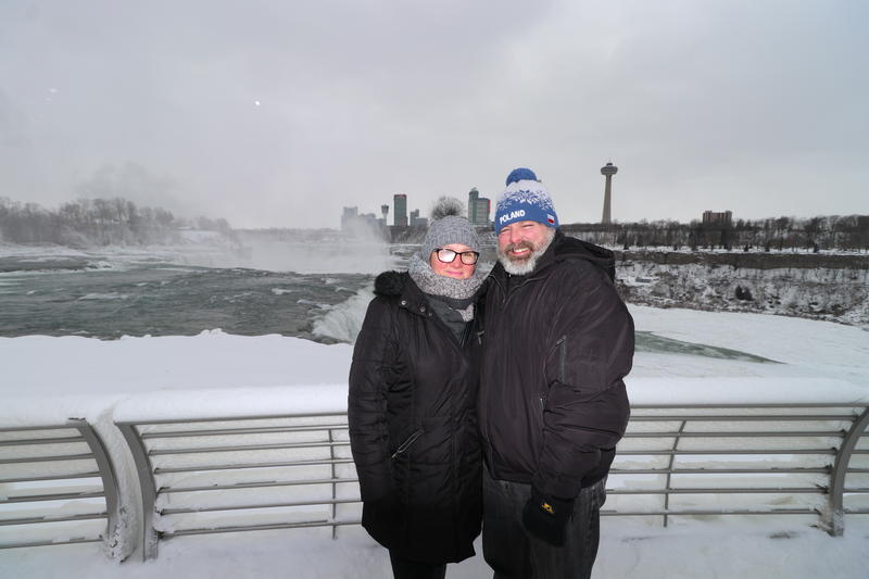 David and Ewa Schultz from Buffalo stop for a photo at Niagara Falls State Park.
