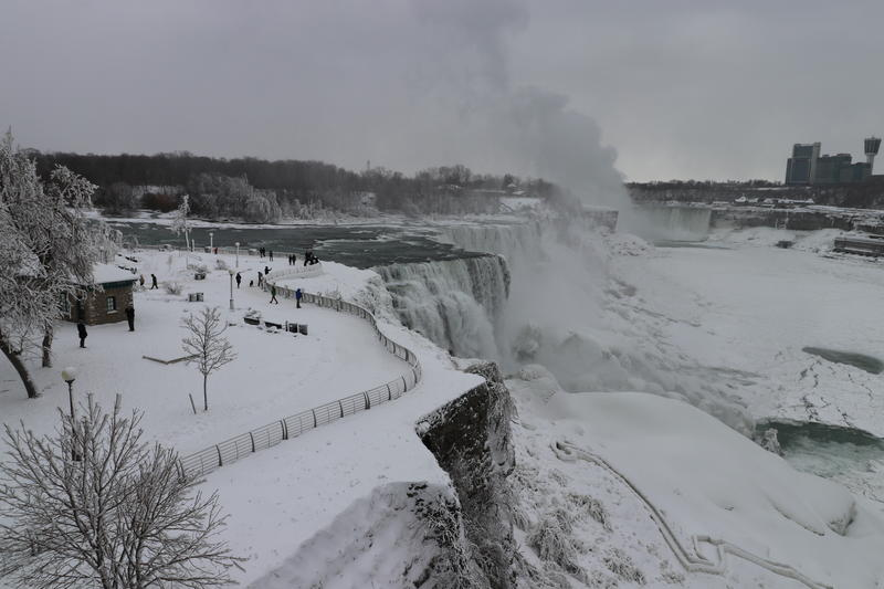 Visitors flock to sights of not-so-frozen Niagara Falls, even in winter.
