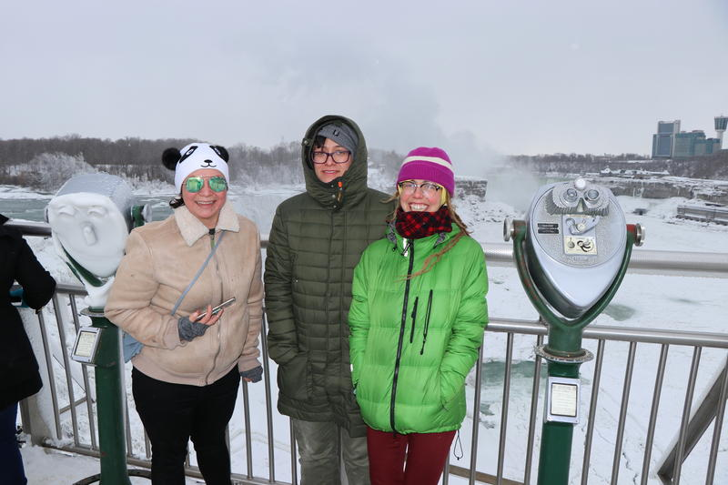 Jessica from Australia (left) makes a stop at Niagara falls on a visit to her Western New York friends.