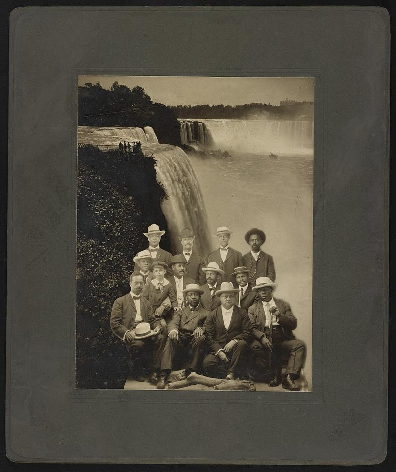 The founders of the Niagara Movement photographed in Fort Erie in July 1905. W.E.B. Du Bois is in the middle row, second from right, in white hat and bowtie