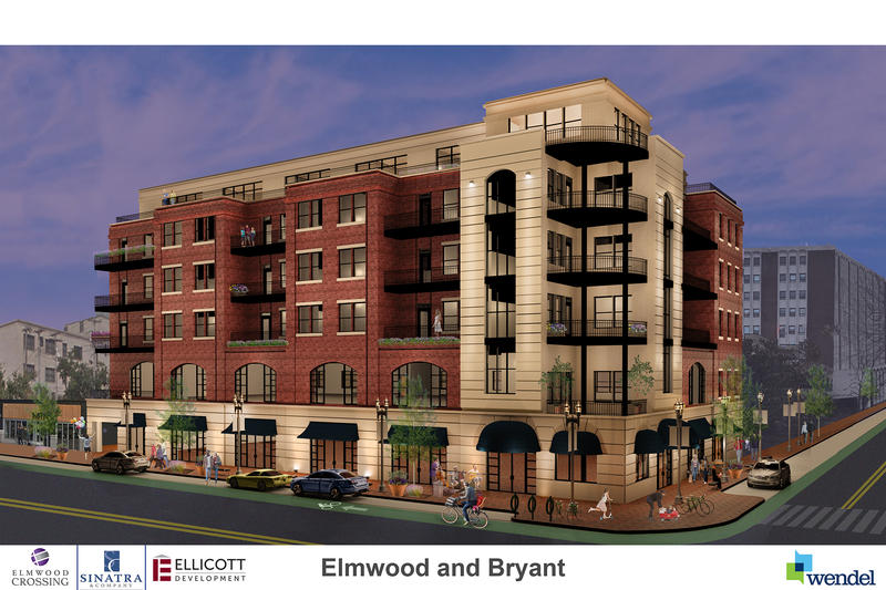 Rendering of what developers propose the corner of Elmwood and Bryant would look like once complete.