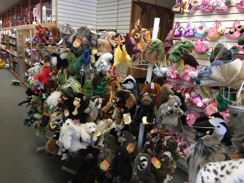 Some of the stuffed animals on display at Clayton's Toy Store