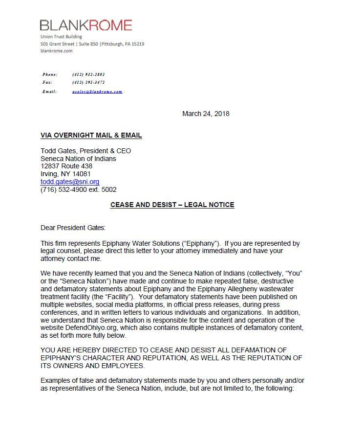 Cease-and-desist letter to Seneca Nation