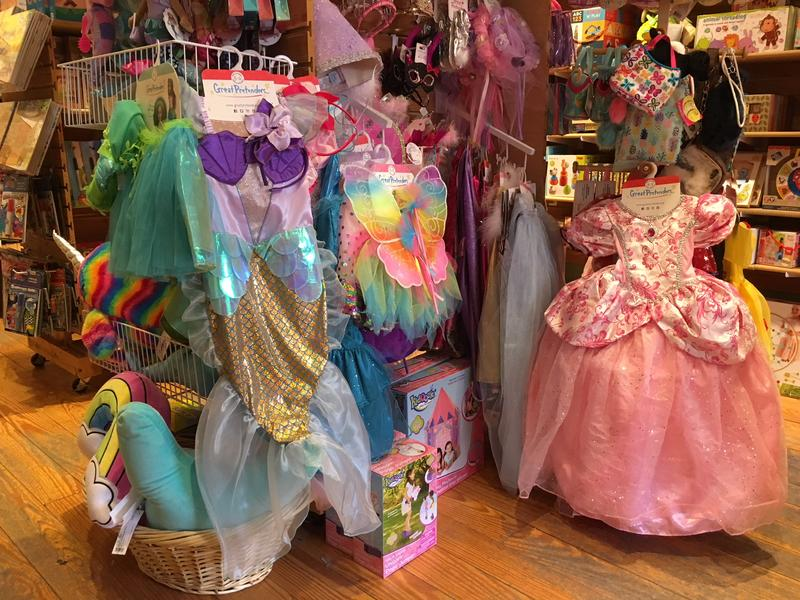 Dress up costumes at the TreeHouse Toy Store