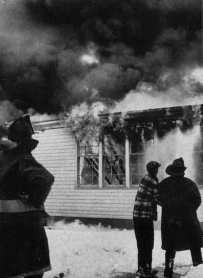 The wooden annex of the Cleveland Hill School in flames, March 31, 1954.