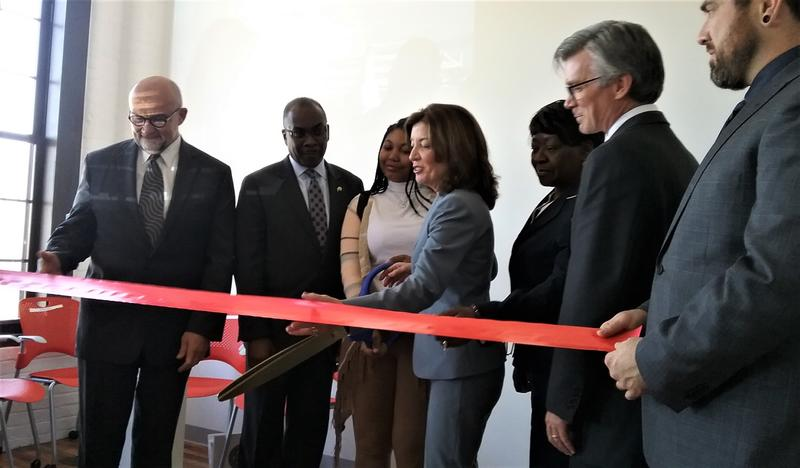 Officials cut the ribbon on the new offices.