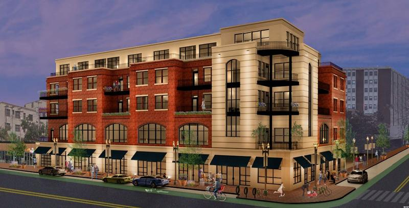 Scaled-down rendering of ElmWood-Bryant project approved Monday.