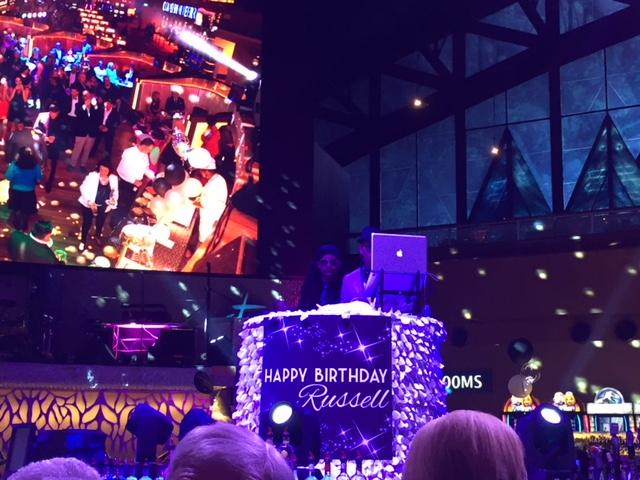 The giant video screen stayed full of the festivities.