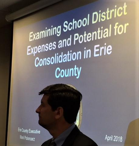 Erie County Executive Mark Poloncarz says savings can be had by merging school districts.