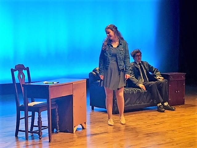 Scene from 'Army of One' at St. Joe's High School about a war veteran returning from Afghanistan and suffering from Post-Traumatic Stress Disorder (PTSD).